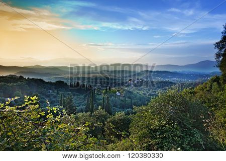 View Of Corfu Island From The Mountains