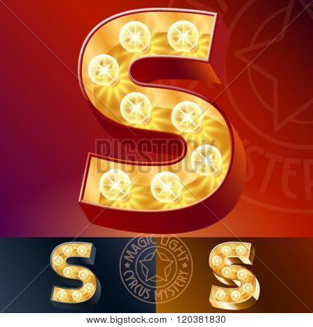 Fantastic vector  light up font with lamp. Letter S