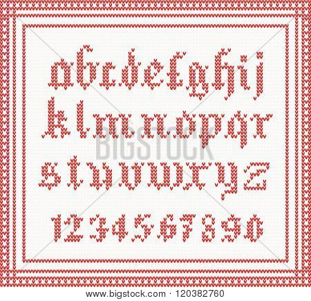 Christmas Font Knitted Gothic Alphabet In Red Color Concept For Banner Placard