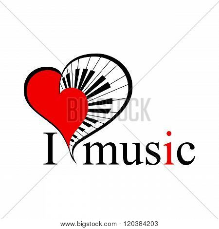 music heart  with text. vector