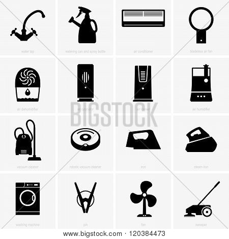 Set of climatic and cleaning appliances (shade pictures) poster