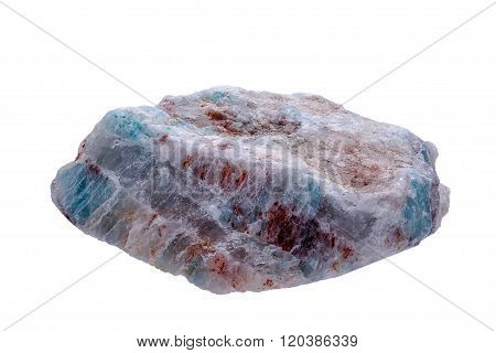 Mineral amazonite sample on a white background