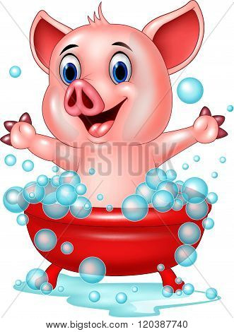 Cartoon pig bathing waving hand