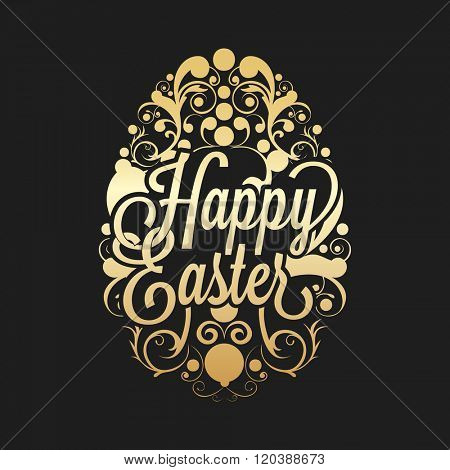 Elegant greeting card design with glossy floral decorated Egg for Happy Easter celebration.