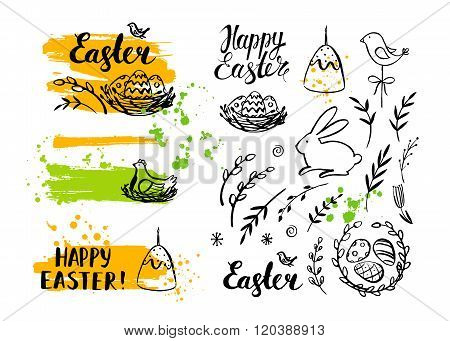 Set of vector Easter card and hand drawn Easter elements