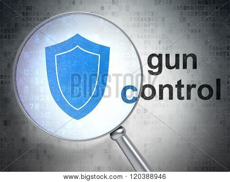 Privacy concept: Shield and Gun Control with optical glass