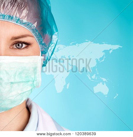 Female surgeon in mask