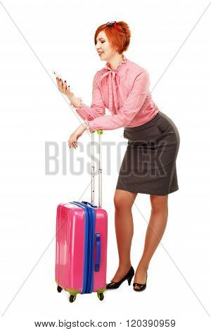 Business Woman In Business Trip Isolated On White Background