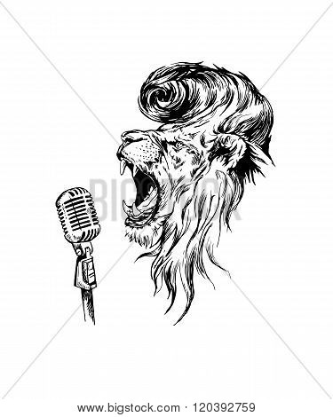 Vector hand drawn realistic  rock&roll lion character.