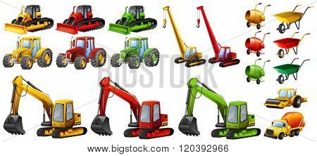 Different tractors and construction equipment illustration