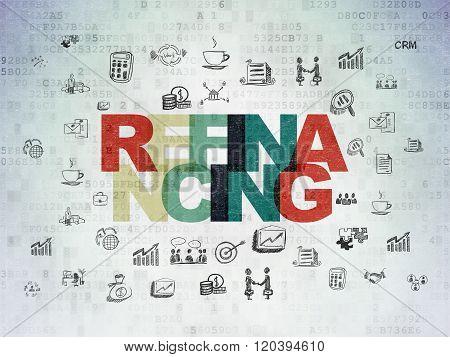 Finance concept: Refinancing on Digital Paper background
