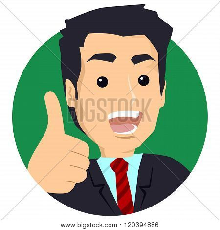 Illustration of a Business Man giving the Thumbs Up