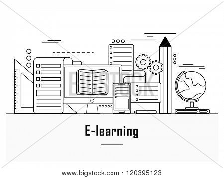 Online education, distance learning, retraining concepts, e-learning web banner, hero image, website slider. Line art vector illustration.