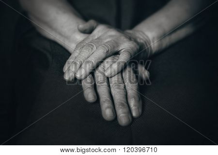Two Old Man's Hands On Knees