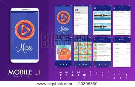 Material Design UI, UX Screens, flat web icons for musical mobile apps, responsive websites with Welcome Screens, Music-track Screens, Setting Screens, Thumbnail Preview Screens.