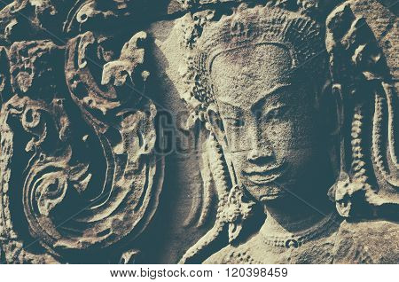 Sculptures of demons of Asia. Photographed in the temple complex of Angkor Wat Cambodia