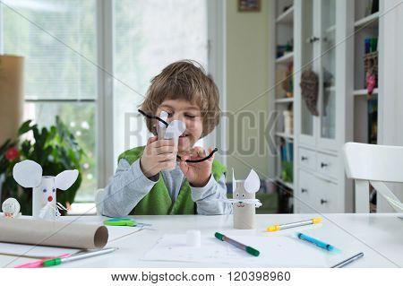 Little Boy Being Creative