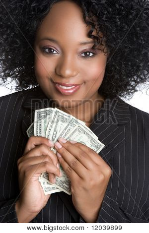African American Businesswoman Holding Money