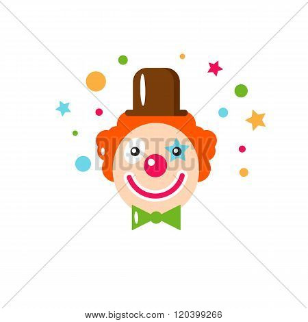 Vector flat holiday background. Clown