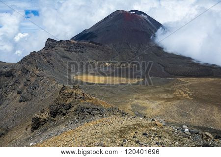 View of Mount Ngauruhoe (a.k.a. Mt Doom) and the South Crater on the Tongariro Alpine Crossing, New