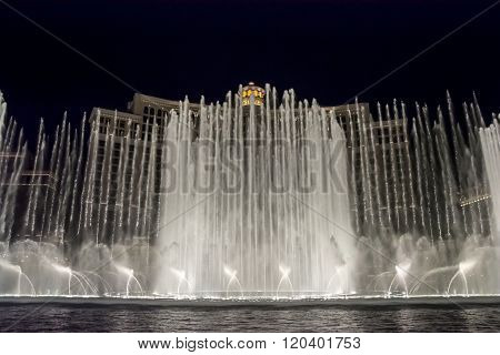 LAS VEGAS, NEVADA - FEBRUARY 5, 2015: The famous Bellagio Fountain Show on the Strip