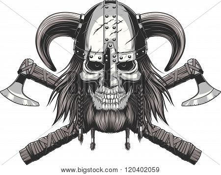 Viking Skull in helmet