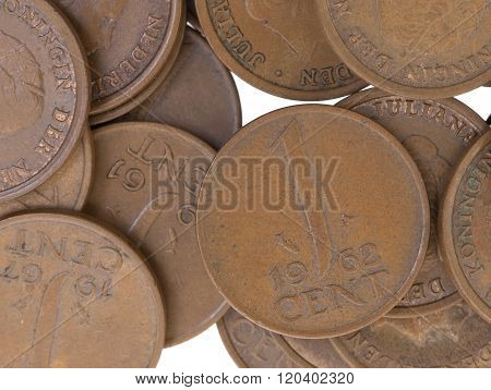 Old Dutch Cent Coins, Isolated, Selective Focus