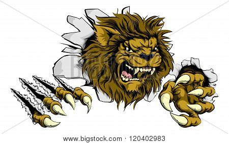 Lion Ripping Through Background