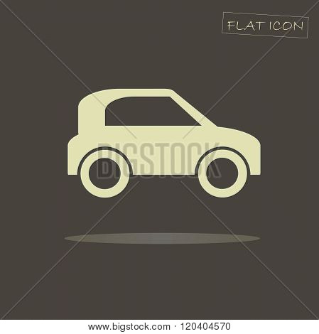 Flat car icon. Light car on dark background. Icon vector