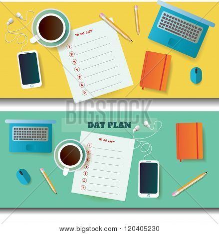 two vector illustrations of table with day plan blank and different objects