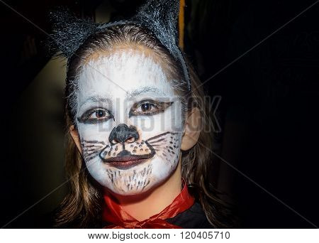 Happy Little Girl With Kitty Cat Make Up