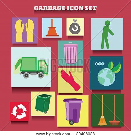 vector icon collection of garbage and cleaning theme