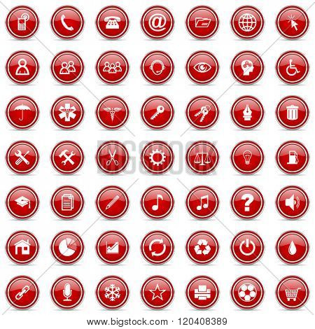 modern design business red cicrle glossy web icons set