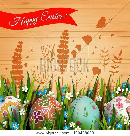 Template card with Easter eggs and flowers