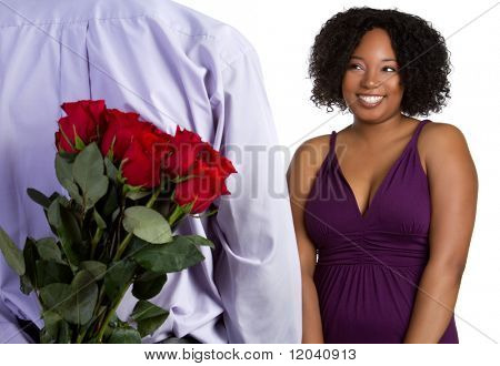 Man Giving Woman Roses