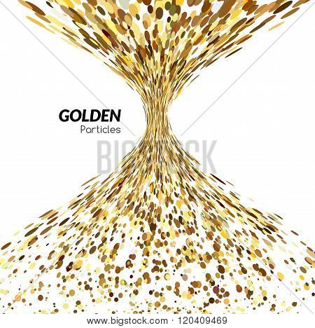 Abstract funnel tornado background golden dots. Banner background, vector golden poster. Gold colors