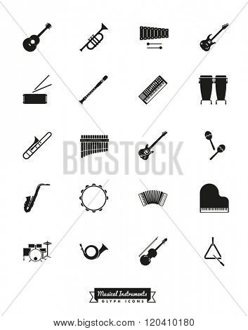 Musical Instruments Silhouette Icon Set. Collection of 20 musical Instruments Glyphs
