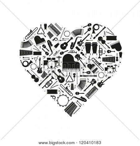 Love of Music Concept Illustration. Variety of musical instruments  silhouettes arranged in heart shape