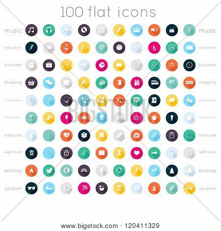 Set Of 100 Flat Icons ( Music Icons, Education Icons, Business Icons, Shopping Icons, Communication