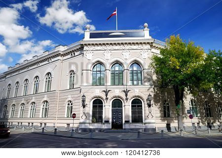 Historical classicism style governmental building in Riga, Latvia.