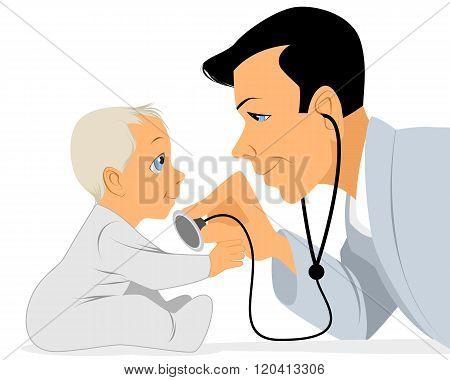 Doctor Examines Baby
