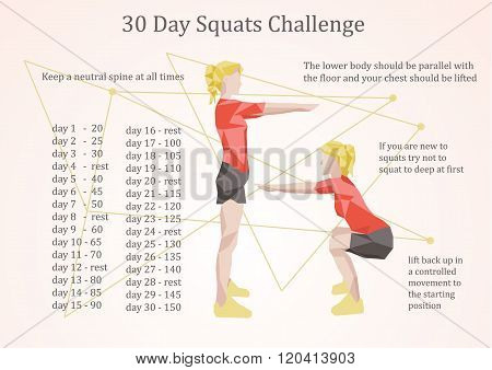 30 days squats challenge vector  illustration eps 10