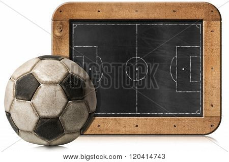 Blackboard With Football Field And Ball