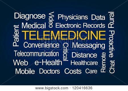 Telemedicine Word Cloud on Blue Background
