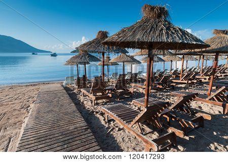 Beach Recliners And Facilities In Budva, Montenegro