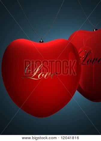 Two Red Heart Pendents With Gold Inscription Love