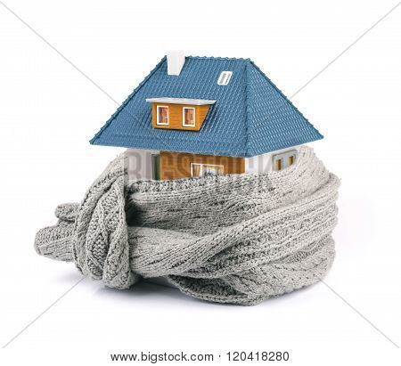 House Insulation Concept. Isolated On White