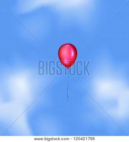 blue sky and red balloon