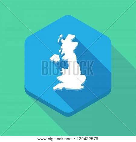 Long Shadow Hexagon Icon With  A Map Of The Uk