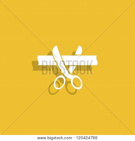 Ribbon Cut With Scissors Symbol For Download.